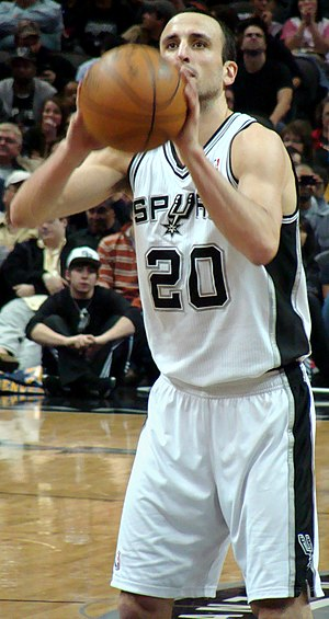 Manu Ginobili of the San Antonio Spurs, during...