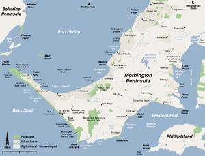 English: A basic map of mornington peninsula.
