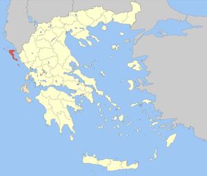Locator map of Corfu (Kerkyra) prefecture (Νομ...