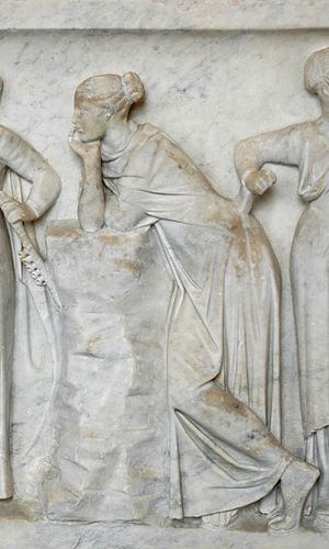 Polyhymnia, muse of sacred poetry. Detail from...
