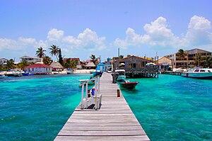 San Pedro Beach in Ambergris Caye, Belize. Pho...