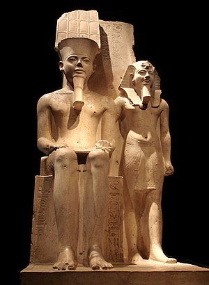 A well preserved statue of pharaoh Horemheb wi...