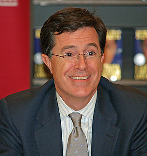 Stephen Colbert in New York City at Border's s...