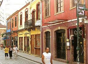 A street in the Ladadika neighbourhood, which ...