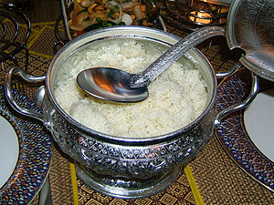 rice serving bowl in a Thai restaurant in Stut...