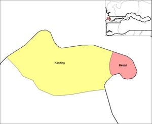 English: Map of the districts of Banjul divisi...
