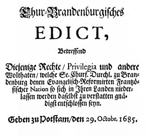 Title-page of the Edict of Potsdam