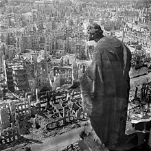 Bombing of Dresden in World War II   Wikipedia Dresden  1945  view from the city hall  Rathaus  over the destroyed city