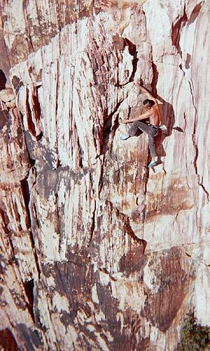 English: A climber free soloing at Red Rock Ca...