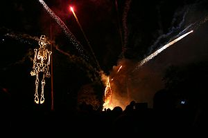 Effigy of Guy Fawkes and fireworks