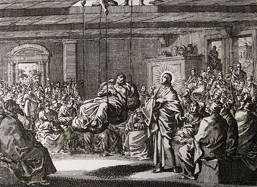 Jan Luyken's Jesus 2. The Paralytic Lowered through the Roof. Phillip Medhurst Collection