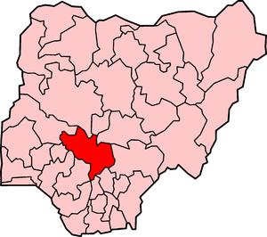 Localização do estado de Kogi na Nigéria.