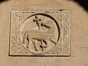 Lamb of God (Agnus Dei); half-relief on the wa...