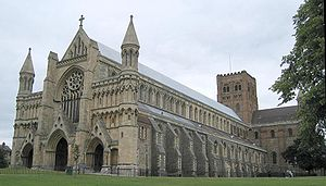 English: St Albans Cathedral, from the west