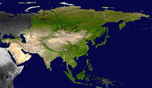 Satellite view of the Asian continent