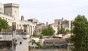 Italiano: Avignone palazzo dei papi e o panora...
