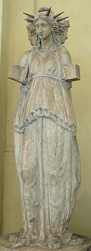 Triple-formed representation of Hecate. Marble...