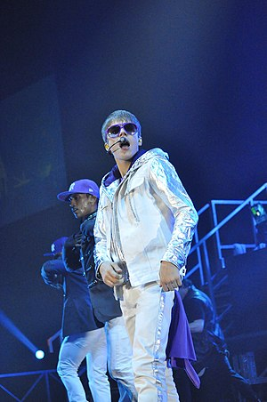 English: Justin Bieber at the Sentul Internati...