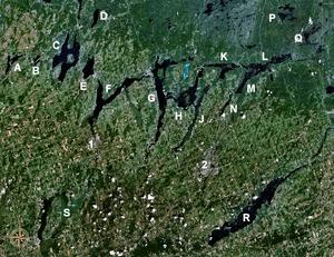 The Kawartha lakes; Buckhorn is H. Click on im...