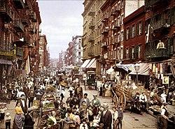 Mulberry Street, en Manhattan, ca. 1900.