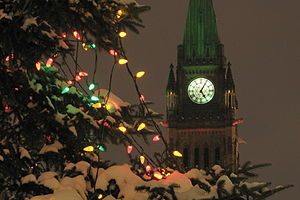 The Peace Tower at Christmas. Ottawa, Canada.