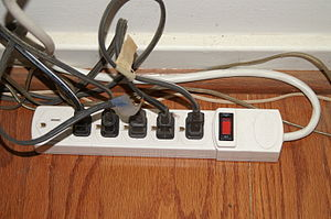 English: A power strip used to turn off power ...
