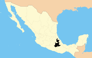 English: State of Puebla within Mexico Español...