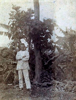 Arthur Rimbaud standing in front of a tree in ...