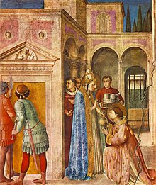 Saint Lawrence Receives the Treasures of the Church (1447), in the Vatican, incorporates the expensive pigments, gold leaf and elaborate design typical of Vatican commissions.