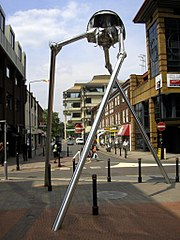 Sculpture of a Wellsian Martian Tripod.