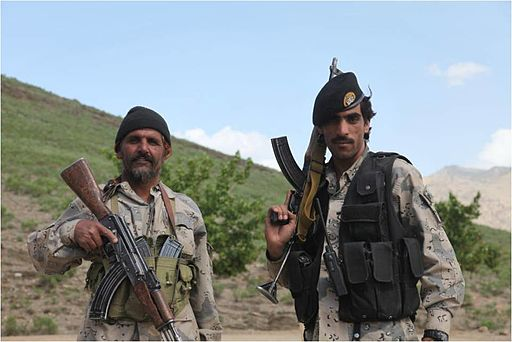 Afghan Border Police near Combat Outpost Margah