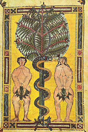 Illuminated parchment, Spain, circa AD 950-955, depicting the fall of man