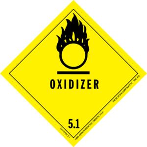 Dangerous goods label for oxidizing agents