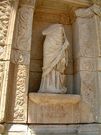 Personification of thought (Greek Εννοια) in Celsus Library in Ephesos, Turkey