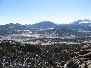 Panorama of Estes Park, , , taken at an altitu...