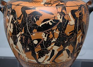 Heracles fighting the Amazons. Attic black-fig...