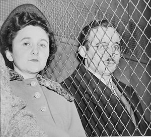 Julius and Ethel Rosenberg, separated by heavy...