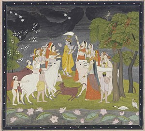 Sri Krsna with the flute Opaque watercolor and...