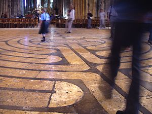 Walking the famous labyrinth on floor of Chart...