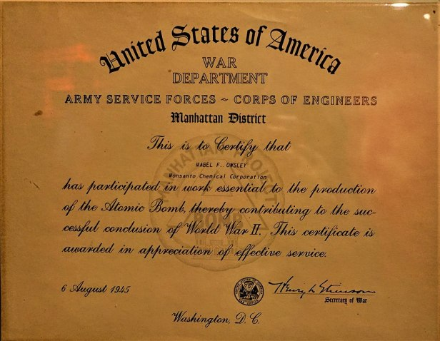 Manhattan Project, Service Certificate - www.joyofmuseums.com - International Spy Museum