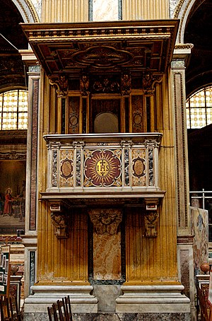 Pulpit of the Gesù, Rome, Italy.