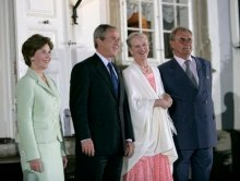 Queen Margrethe II and her husband the Prince Consort welcome President George W. Bush and his wife Laura Bush at Fredensborg Palace, 5 July 2005.