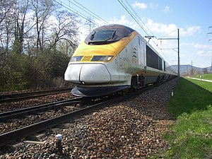 A British Eurostar set approaching Chambéry in...