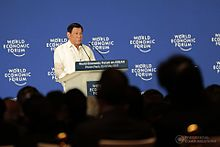 Duterte speaking at the World Economic Forum in Phnom Penh, Cambodia, May 11, 2017