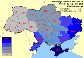 Map of ethnic Russians in Ukraine, based on th...