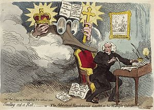 Smelling out a Rat, a caricature of Price with...