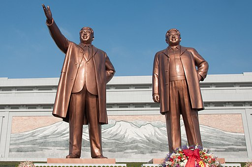 Statues of Kim Il-Sung and Kim Jong-Il on Mansudae Hill
