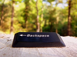 English: A backspace key in its natural habita...