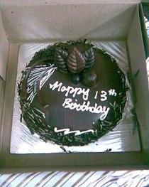 English: A chocolate birthday cake