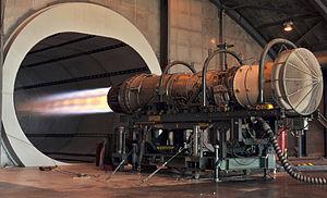 English: An afterburner glows on an F-15 Eagle...